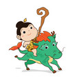little boy riding the horse cartoon vector image
