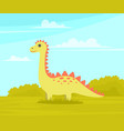 little dragon yellow cute cartoon character funny vector image