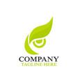 modern owl eye and leafl logo vector image vector image