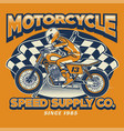 motorcycle rider and checkered flag vector image vector image