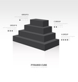 pyramid cube infographic side view black color vector image vector image