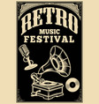 Retro music festival poster template vintage vector image