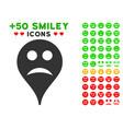 sad smiley map marker icon with bonus facial vector image vector image