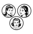 set faces women comic outline design vector image