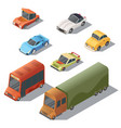 set isometric urban transportation cars vector image vector image