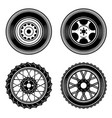 set of car and motorcycle wheels icons design vector image