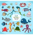 Set of hand-drawn cartoon sea life vector image