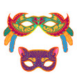 set of masquerade colorful masks isolated on white vector image vector image