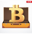 suitcase with cryptocurrency vector image vector image