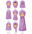 types islamic traditional veils female vector image vector image
