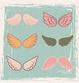 vintage style angels wings set vector image