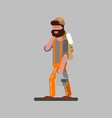 welder walking with helmet vector image