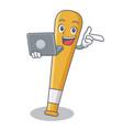 with laptop baseball bat character cartoon vector image vector image
