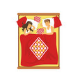 young couple sleeping on the bed vector image vector image