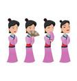 china woman people character set vector image