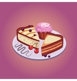 Pie and Cupcake with Cherries vector image