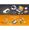 Wireless Technology Isometric Horizontal Banners vector image