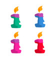 1 year birthday candle flat design with different vector image