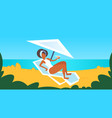 african american girl in white swimsuit sunbathing vector image vector image