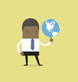 african businessman spinning globe vector image vector image