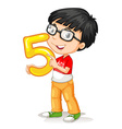 Asian boy holding number five vector image vector image