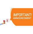 attention important information message banner or vector image vector image