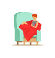 beautiful young woman wrapped in red blanket vector image vector image