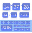 blue flat time counter with flip calendar vector image vector image