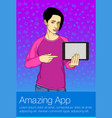 business woman holding tablet pc vector image vector image