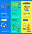 cartoon aquapark playground banner vecrtical set vector image vector image