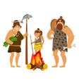 cartoon cavemen family vector image vector image