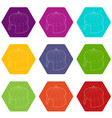 circus tent icons set 9 vector image vector image