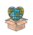 color crayon silhouette globe earth world in heart vector image vector image
