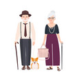 elderly couple with canes and pet dog on leash vector image vector image
