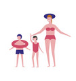 family in swimsuits on beach icons vector image vector image