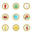 firefighter department icon set cartoon style vector image vector image