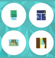 flat icon glass set of balcony curtain frame and vector image vector image