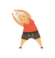 grey senior woman doing sport exercise incline to vector image vector image
