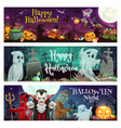 halloween ghosts witch vampire dracula devil vector image vector image