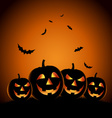 Halloween night background with pumpkins template vector image