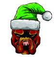 hand drawn dog american bulldog in a red santa vector image vector image