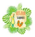 hot and fun summer flip flops sandals footwear vector image vector image
