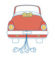 isolated newlywed couple car vector image vector image