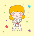 karate girl with red belt character vector image vector image