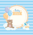 label teddy bear with balloons and clouds vector image vector image