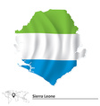 Map of Sierra Leone with flag vector image vector image
