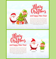 merry christmas greeting poster with santa claus vector image vector image
