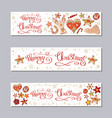 merry christmas horizontal banners set vector image vector image