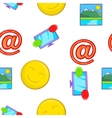 Messages over internet pattern cartoon style vector image vector image