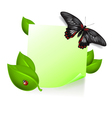Note with leaves and insects vector image vector image
